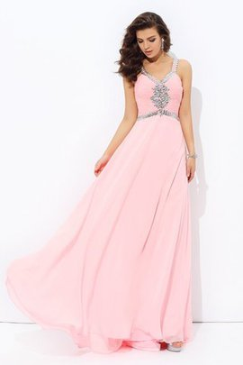 Long Natural Waist Spaghetti Straps Sleeveless Chiffon Evening Dress