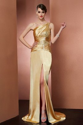 Natural Waist Elastic Woven Satin Long One Shoulder Sweep Train Evening Dress