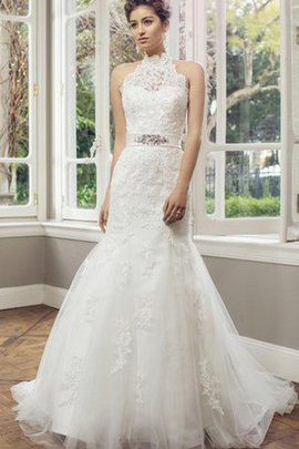 Mermaid Floor Length Lace Fabric High Neck Appliques Wedding Dress