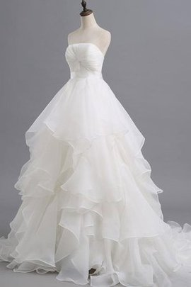 Chapel Train Organza Backless Short Off The Shoulder Wedding Dress