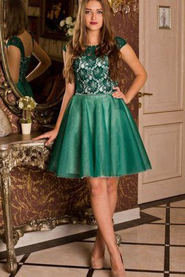 Lace Tulle Capped Sleeves Romantic Homecoming Dress