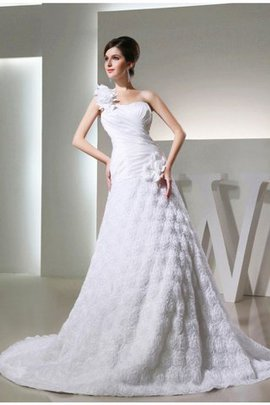 Lace-up Empire Waist Sleeveless Princess One Shoulder Wedding Dress