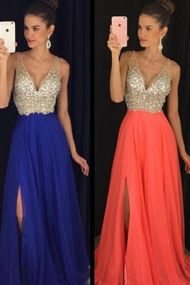 Floor Length A-Line Natural Waist V-Neck Beading Evening Dress