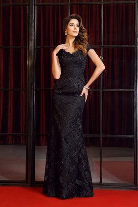 Floor Length Long Zipper Up V-Neck Appliques Evening Dress