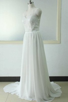 Floor Length Flowers V-Neck Beach Lace-up Wedding Dress