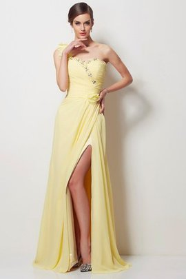 A-Line Natural Waist Floor Length Chiffon Long Prom Dress