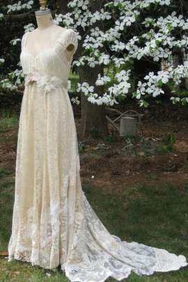 Fancy Outdoor Capped Sleeves A-Line Sweep Train Wedding Dress