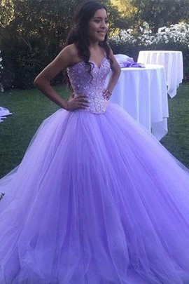 Natural Waist Sleeveless Sweep Train Ball Gown Tulle Beading Beautiful Prom Dress