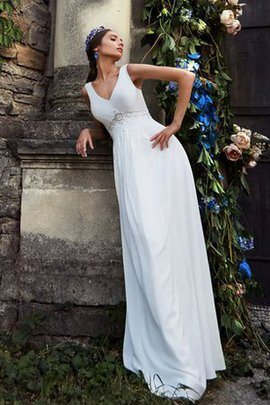 Empire Waist Beading Sleeveless Long Floor Length Wedding Dress