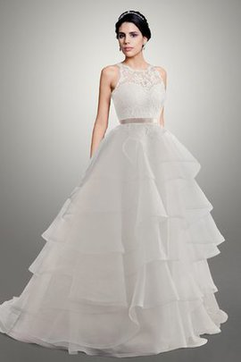Jewel Court Train Tiered Ball Gown Organza Wedding Dress