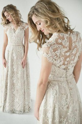 Elegant & Luxurious Short Sleeves Button Zipper Up Vintage Wedding Dress