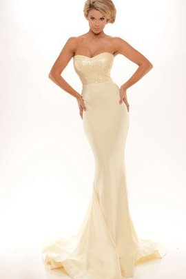 Sleeveless Strapless Sweep Train Sequined Evening Dress