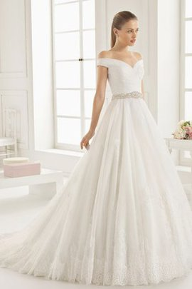 Hall Draped Demure Chic & Modern A-Line Wedding Dress