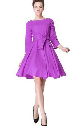 Zipper Up A-Line Pleated Ruched 3/4 Length Sleeves Bridesmaid Dress