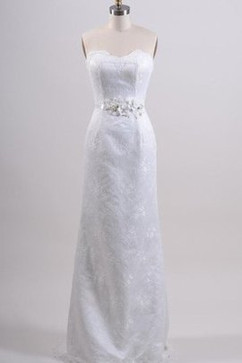 Sheath Sleeveless Flowers Lace-up Sweetheart Wedding Dress