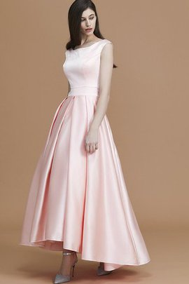 Zipper Up Ruffles Satin Asymmetrical Bridesmaid Dress