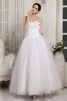 Sleeveless Sweetheart Organza Ankle Length Ball Gown Wedding Dress