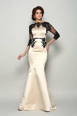 Lace Satin Court Train Long Half Sleeves Mother Of The Bride Dress