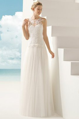 Thin Modest Sweep Train Pleated Tulle Wedding Dress