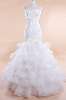 Mermaid Sleeveless Lace Fabric Ruffles Wedding Dress