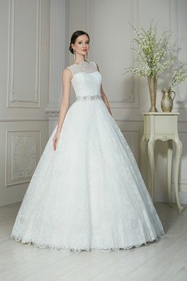 Jewel Sleeveless Lace Fabric A-Line Floor Length Wedding Dress