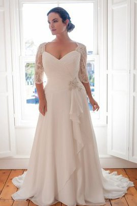 Floor Length A-Line Elegant & Luxurious Simple Beading Wedding Dress