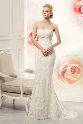 Strapless Chapel Train Lace Floor Length Wedding Dress