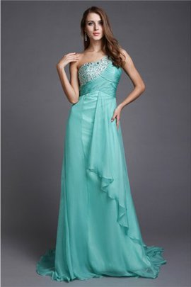 Chiffon Zipper Up Sweep Train Sleeveless One Shoulder Prom Dress
