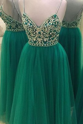 Princess Spaghetti Straps Beading Natural Waist Sleeveless Prom Dress