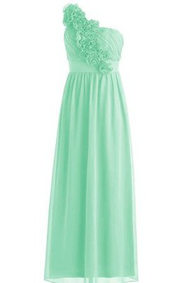 Pleated Flowers A-Line Chiffon One Shoulder Bridesmaid Dress