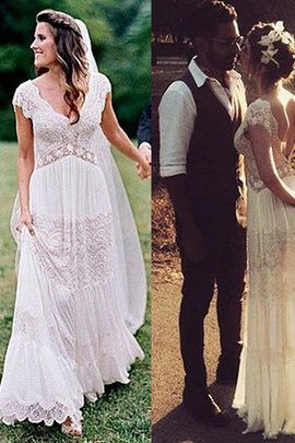Sweet Lace Fabric Hall Sexy V-Neck Long Hourglass Wedding Dress
