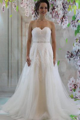 Floor Length Lace Beading Sweetheart Court Train Wedding Dress