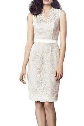Knee Length Sleeveless Sheath Lace Bridesmaid Dress