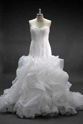 Sweetheart Mermaid Zipper Up Cascading Ruffle Wedding Dress
