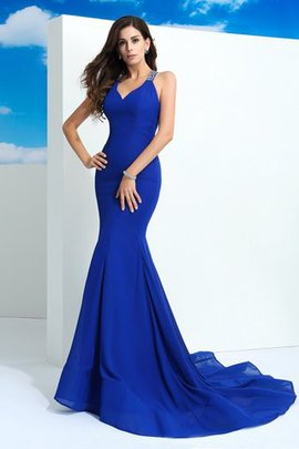 Court Train Chiffon Sleeveless Wide Straps Long Evening Dress