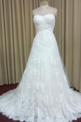 A-Line Criss-Cross Lace Sleeveless Ruched Wedding Dress