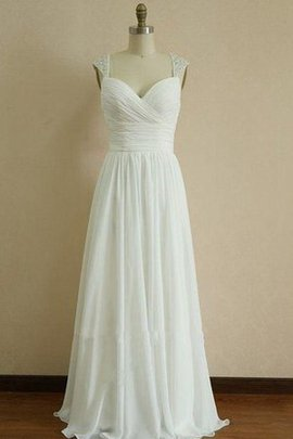 Beach Beading Chiffon Spaghetti Straps Ruffles Wedding Dress