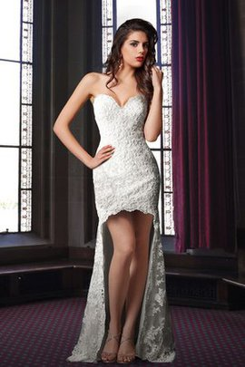 High Low Sweetheart Pleated Sleeveless Elegant & Luxurious Wedding Dress