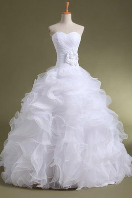 Lace Beading Floor Length A-Line Organza Wedding Dress
