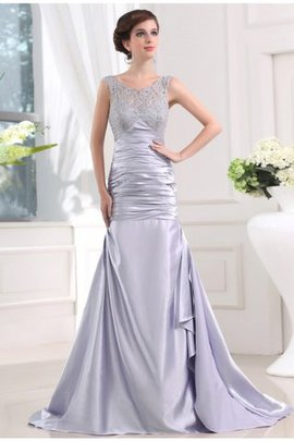 Lace Sleeveless Beading Long Sweep Train Prom Dress