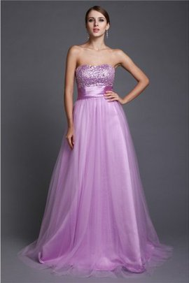 Long A-Line Lace-up Beading Strapless Evening Dress