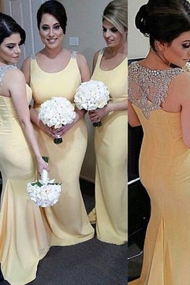 Scoop Natural Waist Sleeveless Satin Mermaid Bridesmaid Dress