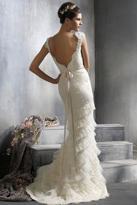 Pleated Deep V-Neck Lace Fabric Tiered Mermaid Wedding Dress