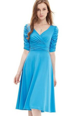Chiffon Half Sleeves Ruched V-Neck A-Line Cocktail Dress