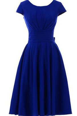 Knee Length Accented Bow Sashes Pleated Scoop Prom Dress