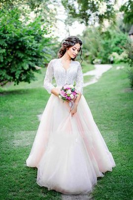 Lace Chic & Modern Modest Informal & Casual 3/4 Length Sleeves Wedding Dress