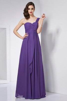 Floor Length A-Line Draped Long Chiffon Evening Dress