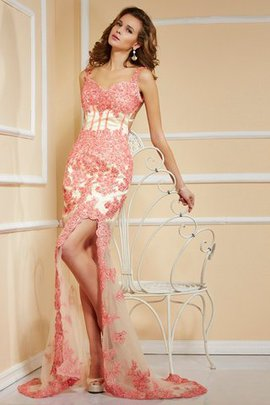 Sweep Train Appliques Spaghetti Straps Sleeveless Natural Waist Prom Dress