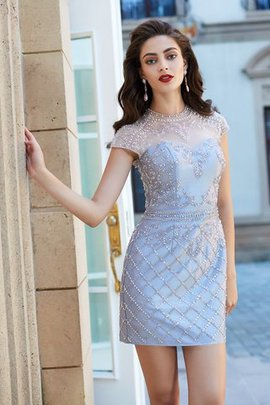 Short Short Sleeves Jewel Beading Natural Waist Homecoming Dress