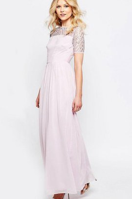 Short Sleeves Zipper Up Pleated Ankle Length Scoop Bridesmaid Dress